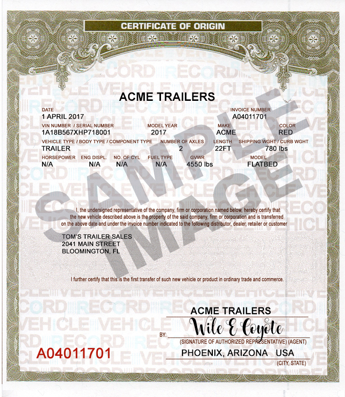 SAMPLE PRINTED TRAILER MCO CERTIFICATE OF ORIGIN