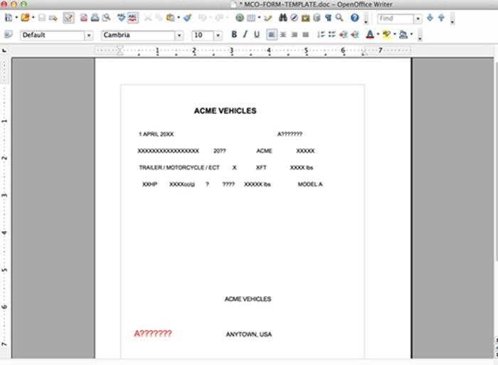 Trailer msos mcos sample of a printed mco certificate of origin yadclub Images