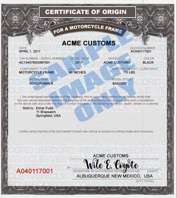 SAMPLE PRINTED MOTORCYCLE FRAME MCO CERTIFICATE OF ORIGIN