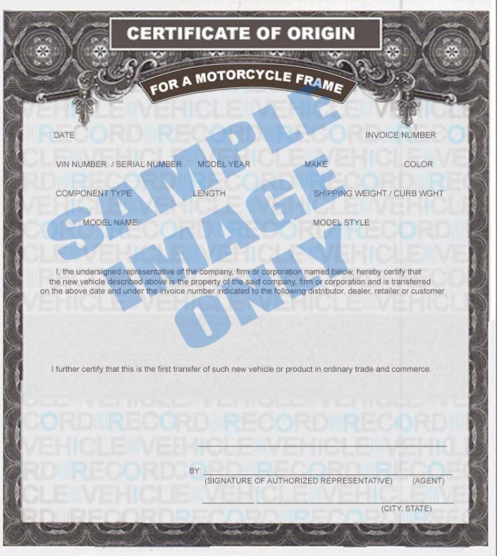 Motorcycle frame mcos msos for Certificate of origin for a vehicle template