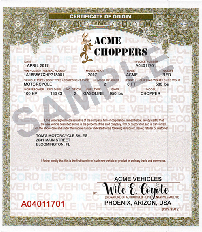MCO CERTIFICATE OF ORIGIN SAMPLE WITH LOGO
