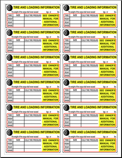 Tire Placard Label Sheet